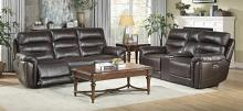 Homelegance 9527BRW-2PWH 2 pc Lance 100% top grain leather match sofa and love seat set nail head trim power recliner ends