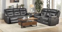 Homelegance 9528DGY-2PWH 2 pc Kennett dark gray italian top grain leather match power motion reclining sofa and love seat set