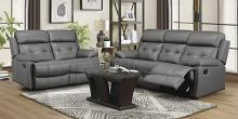 Homelegance 9529DGY-2PC 2 pc Lambent dark gray top grain leather match sofa and love seat set recliner ends