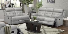 Homelegance 9529SVE-2PC 2 pc Lambent silver gray top grain leather match sofa and love seat set recliner ends