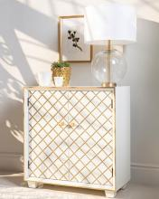 953286 Highland dunes dorothy white/gold finish wood cabinet with carved details