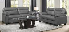 Homelegance 9537DGY-2PC 2 pc Denizen dark gray top grain leather match sofa and love seat set wide arms