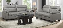 Homelegance 9537GRY-2PC 2 pc Denizen gray top grain leather match sofa and love seat set wide arms