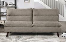 Homelegance 9560BR-3CL Winston porter Mackay brown textured fabric futon sofa folding back