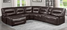 Homelegance 9579BRW-6LCRRPW 6 pc Dyaerburg brown premium faux leather sectional sofa with power recliners and chaise