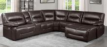 Homelegance 9579BRW-6LRRCPW 6 pc Dyaerburg brown premium faux leather sectional sofa with power recliners and chaise