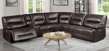Homelegance 9579BRW-6LRRRPW 6 pc Dyaerburg brown premium faux leather sectional sofa with power recliners