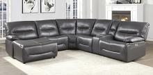 Homelegance 9579GRY-6LCRRPW 6 pc Dyaerburg gray premium faux leather sectional sofa with power recliners and chaise