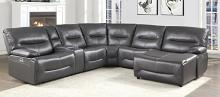 Homelegance 9579GRY-6LRRCPW 6 pc Dyaerburg gray premium faux leather sectional sofa with power recliners and chaise