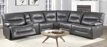 Homelegance 9579GRY-6LRRRPW 6 pc Dyaerburg gray premium faux leather sectional sofa with power recliners