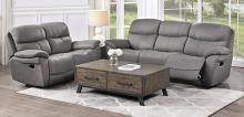 Homelegance 9580GY-2PC 2 pc Longvale gray polished microfiber sofa and love seat set recliner ends