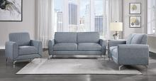 Homelegance 9594BUE-2PC 2 pc Venture blue fabric sofa and love seat set with chrome modern legs
