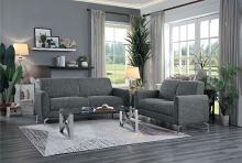 Homelegance 9594DGY-2PC 2 pc Venture dark gray fabric sofa and love seat set with chrome modern legs