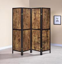 961413 Strick & Bolton dahlstrom 4 panel black finish wood frame antique nutmeg panel room divider shoji screen