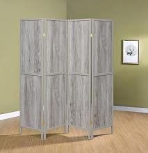 961415 Williston forge carrasquillo 4 panel driftwood gray finish wood frame room divider shoji screen