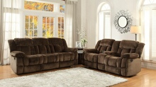 Home Elegance 9636 2 pc laurelton collection chocolate champion fabric upholstered double reclining sofa and love seat set