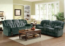 Home Elegance 9636CC-2PC 2 pc laurelton charcoal champion fabric double reclining sofa and love seat set