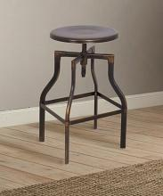 Acme 96638 Xena antique copper finish metal round swivel adjustable barstool