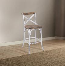 Acme 96642 Zaire antique oak finish wood antique white metal bar chair