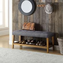 Acme 96686 Ivy bronx laderas charla oak finish wood gray padded seat bedroom entry storage bench with lower shelf