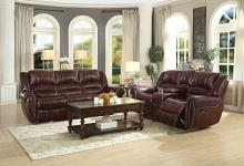 Homelegance HE-9668NDB-SL 2 pc center hill dark brown leather gel match sofa and love seat nail head trim