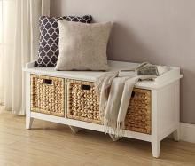 Acme 96759 Red barrel studio aastha white finish wood bedroom entry storage bench with basket look drawers
