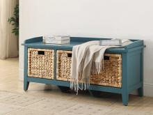 Acme 96761 Red barrel studio aastha teal finish wood bedroom entry storage bench with basket look drawers
