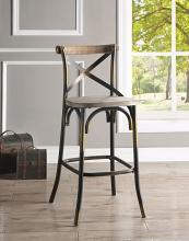 Acme 96805 Zaire antique oak finish wood antique copper metal bar chair