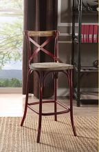 Acme 96808 Zaire antique oak finish wood antique red metal bar chair