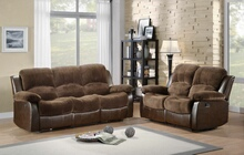 2 pc cranley collection 2 tone chocolate textured microfiber and brown faux leather upholstered double reclining sofa and love seat set