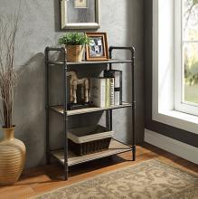 Acme 97162 Itzel antique oak finish wood sandy black metal 3 tier book case shelf unit