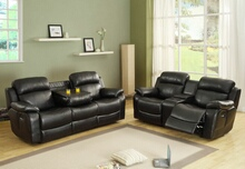 Homelegance 9724BLK-2PC 2 pc marille black bonded leather match double reclining sofa and love seat set