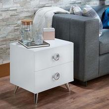 Acme 97334 Orren ellis afrodita white finish wood silver accents nightstand bed side table