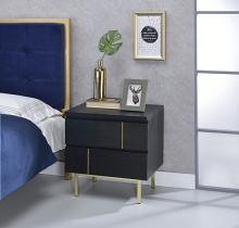 Acme 97550 Shadan black finish wood 2 drawer nightstand bed side end table