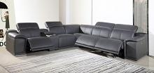 GU-DI9762GY-6PC 6 pc Orren ellis florence gray italian leather power reclining sectional sofa adjustable headrests