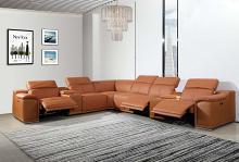 GU9762CM-8PC 8 pc Orren ellis florence camel italian leather power reclining sectional sofa adjustable headrests