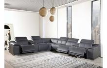 GU-DI9762GY-8PC 8 pc Orren ellis florence grey italian leather power reclining sectional sofa adjustable headrests