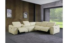 GU9762BG-6PC 6 pc Orren ellis florence beige italian leather power reclining sectional sofa adjustable headrests