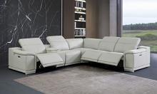GU9762LG-6PC 6 pc Orren ellis florence light gray italian leather power reclining sectional sofa adjustable headrests