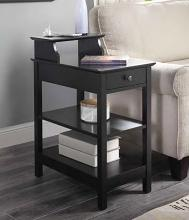 Acme 97739 Orren ellis shelbyville slayer black finish wood nightstand chair side end table with USB power dock station