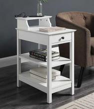 Acme 97740 Orren ellis shelbyville slayer white finish wood nightstand chair side end table with USB power dock station