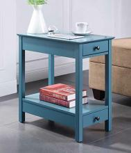 Acme 97742 Breakwater bay melchoir byzad teal finish wood chair side end table with USB power dock station