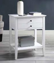 Acme 97744 Orren ellis shelbyville grardor white finish wood nightstand end table with USB power dock station