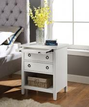 Acme 97855 Halim antique white finish wood end table with drawers and tray