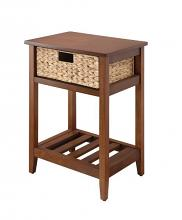Acme 97857 House of hampton bay walnut and natural finish wood accent side table with natural woven basket
