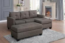 Home Elegance 9789BRG-3LC 2 pc phelps brownish grey textured fabric reversible sectional sofa set