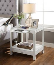 Acme 97975 Seatlas antique white finish wood end table with drawers and tray