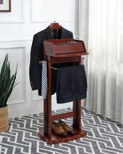 Acme 97980 Skyline decor etla espresso finish wood valet coat suit stand with USB plugs and built in outlets for charging station on top