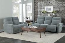 HE-9804DV-2PC 2 pc Edition dove gray fabric power motion sofa and love seat set recliner ends