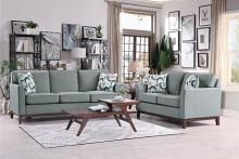 HE-9806GRY-SL 2 pc Blue lake gray fabric sofa and love seat set with wood trim